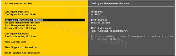 ESXi Console Configuration Menu