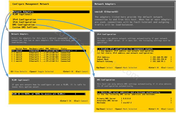 ESXi Console Management Network Configuration Options