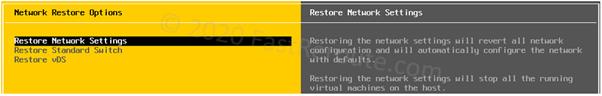 ESXi DCUI Network Restore Options