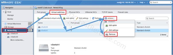 Delete vSwitch using ESXi host WebGUI