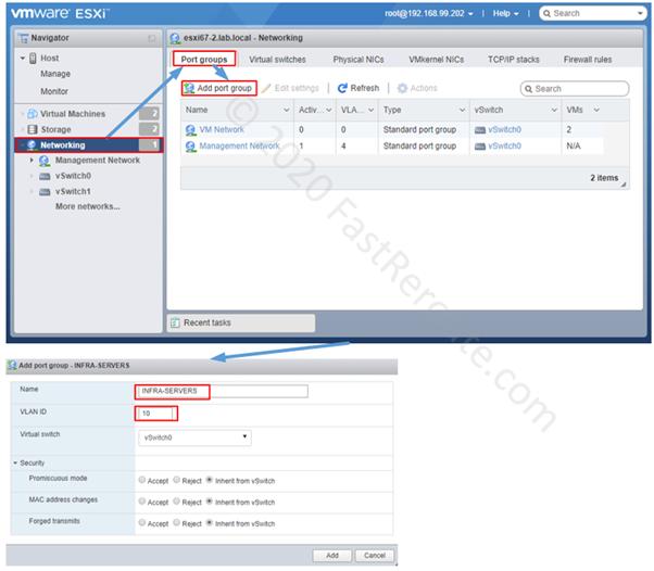 Figure 3. ESXi Host Configuration – Add a Port Group