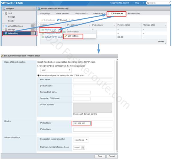 Figure 10. ESXi Host – Configure TCP/IP Stack