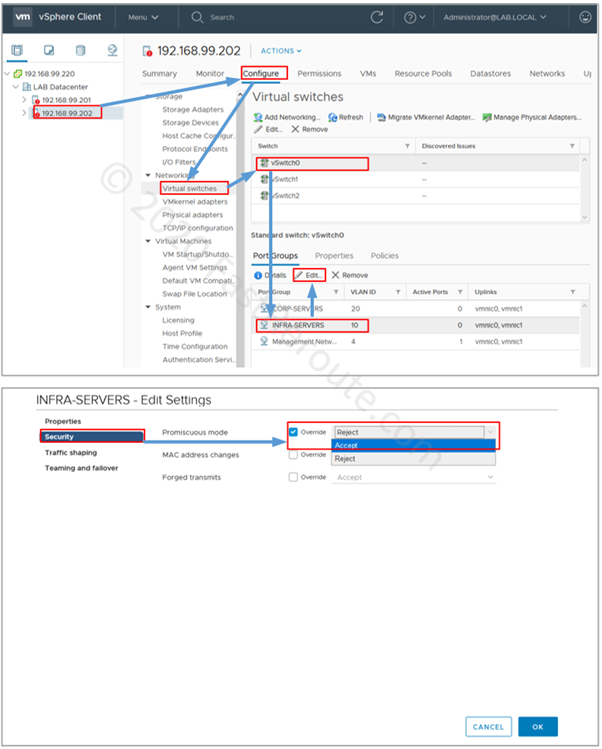 Figure 14. vCenter Configuration – Enable Promiscuous mode for a Port Group