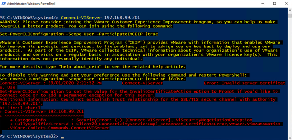 Connect to ESXi host with PowerCLI