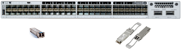 Catalyst 9300 with SFPs (on the left) and QSFPs (on the right)