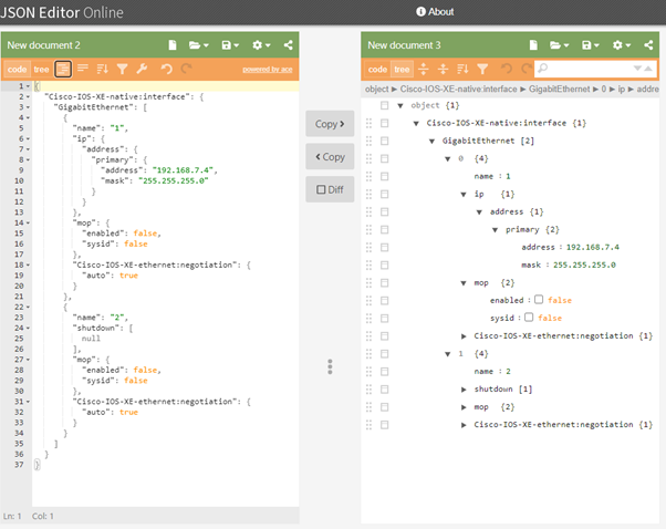 Figure 3. JSON Editor Online
