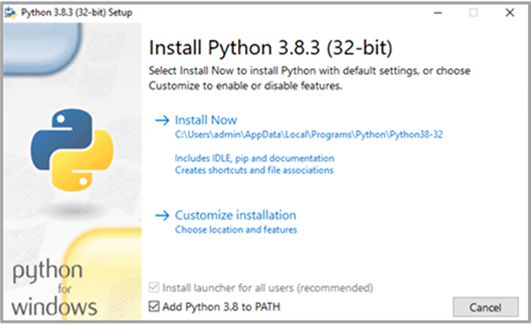 Figure 1. Python Installation Options