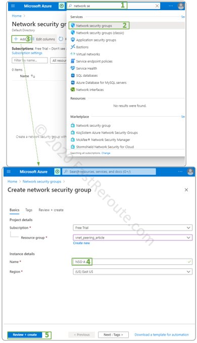 Figure 3. Create Azure Network Security Group